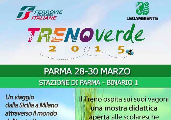Arriva il Treno Verde alla stazione di  Parma, binario 1 , 28-30 marzo